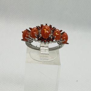 Silver Fire opal ring .925